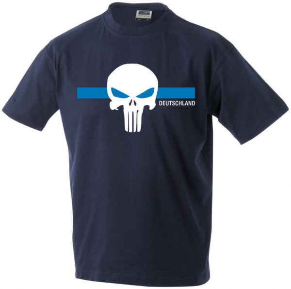 T-Shirt_Herren_SCHAEDEL_thin_blue_line_navy